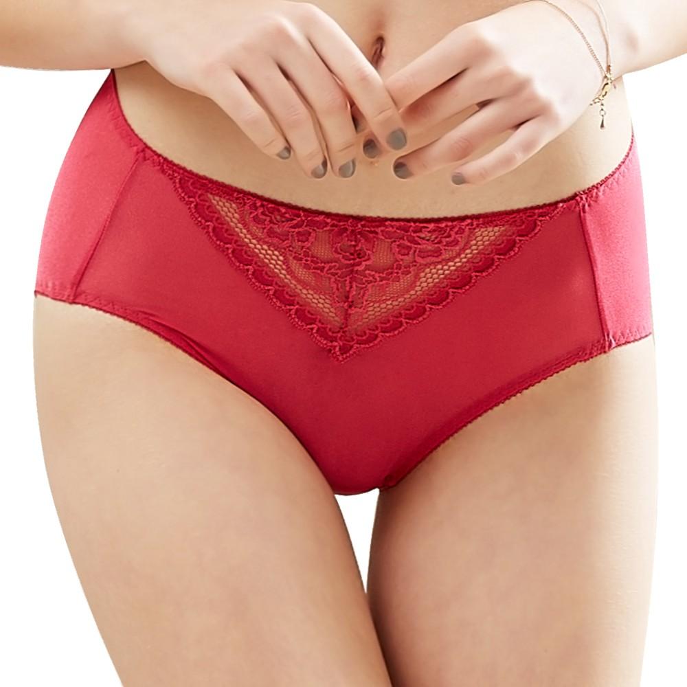 SWEAR 思薇爾 花緹系列M-XXL蕾絲中腰三角內褲(閃耀紅)