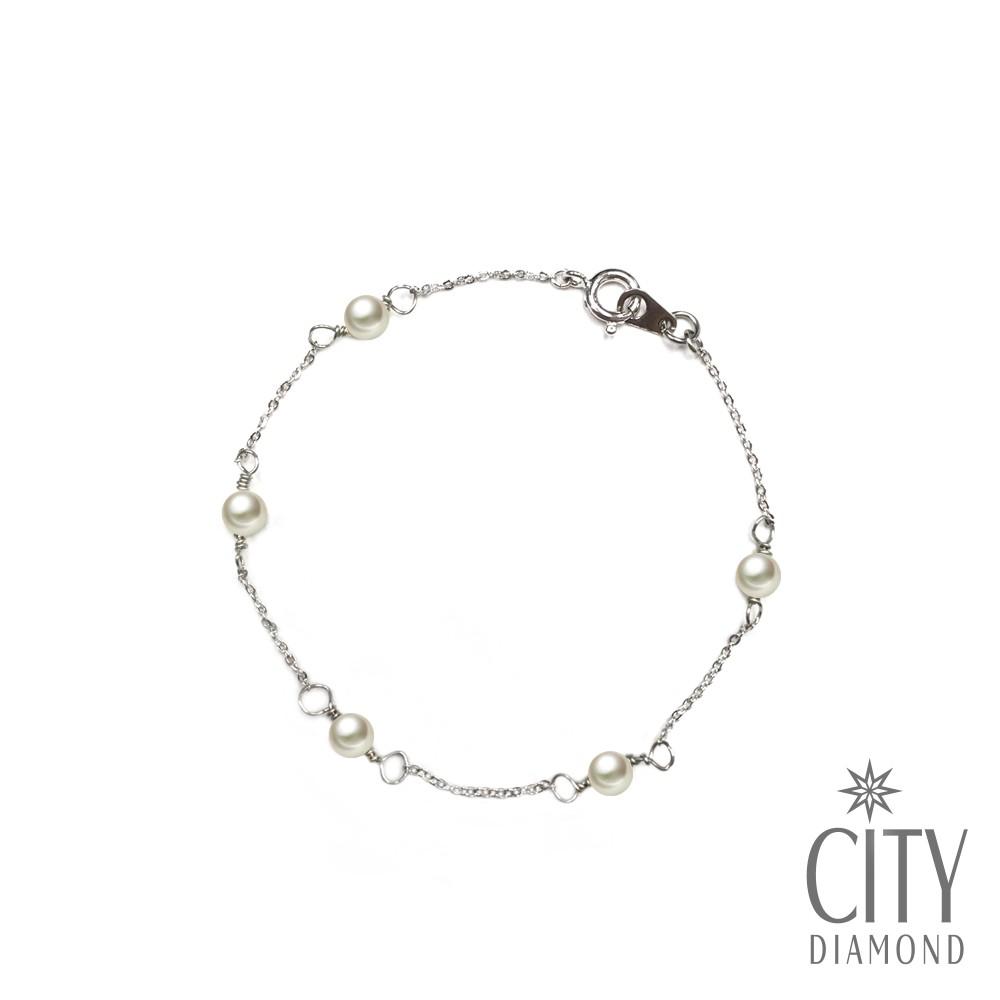 City Diamond引雅【手作設計系列 】海洋的眼淚.天然珍珠腳鍊