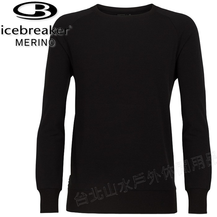 Icebreaker 刷毛圓領長袖/羊毛上衣/素T/美麗諾羊毛 RF200 TABI 男款 104253 001 黑色