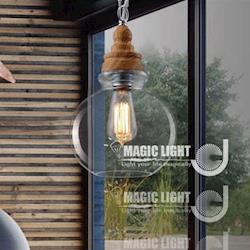 【光的魔法師 Magic Light】設計師創意復古個性 吊燈餐廳酒吧 咖啡廳燈具 燈飾 木紋水晶吊燈(圓形B)