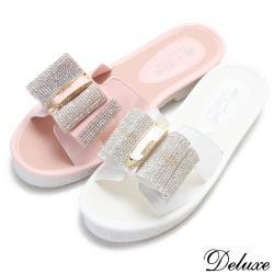 【Deluxe】可愛馬卡龍粉嫩水鑽蝴蝶結厚底拖鞋(粉-白)-691-3