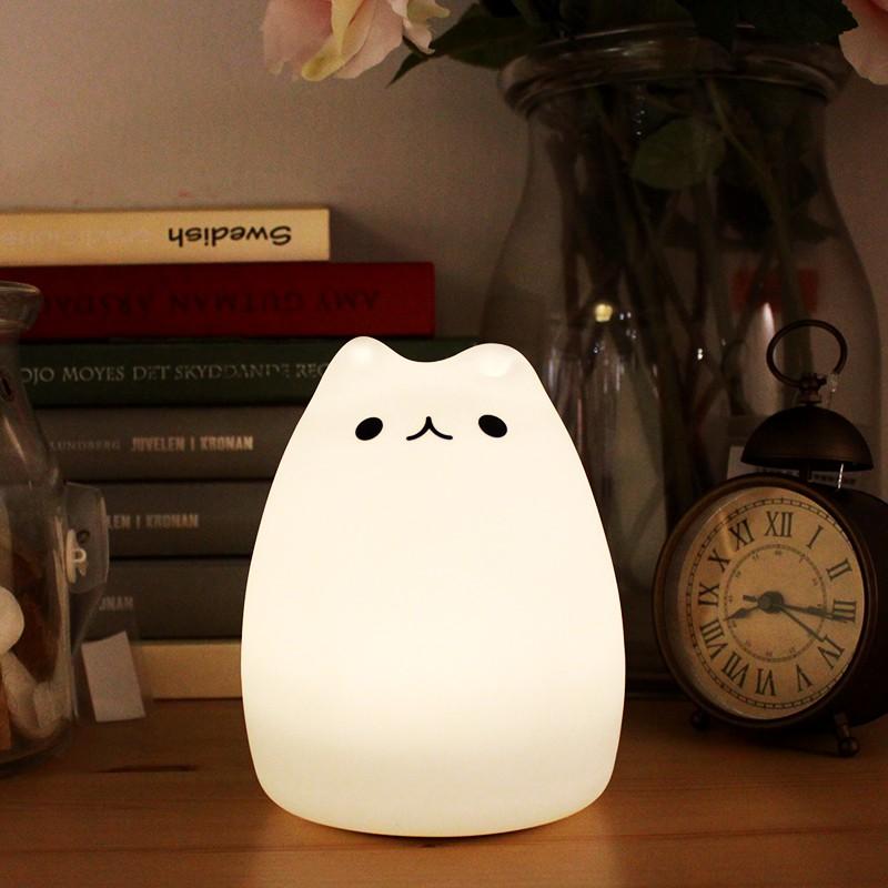 BANG 軟矽膠夜燈 Pusheen facebook貓 LED節能 感應燈 拍拍燈 閱讀燈 床頭燈 觸控燈【HT04】