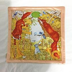 【協貿】奢華復古棉絨布料橙色狐狸沙發方形抱枕含芯