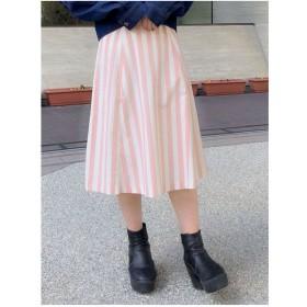 dazzlin ストライプフレアスカート(ピンク)