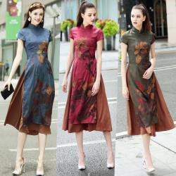麗莎熊 LisaBear 復古修身中國風香芸緞面紗水墨花卉撞色風奧黛旗袍 大尺碼可 S~3XL 三色可選