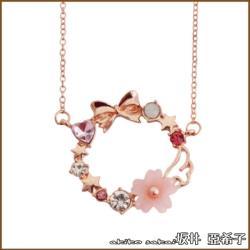【Akiko Sakai坂井亞希子】幸福預兆粉色蝴蝶結櫻花造型項鍊