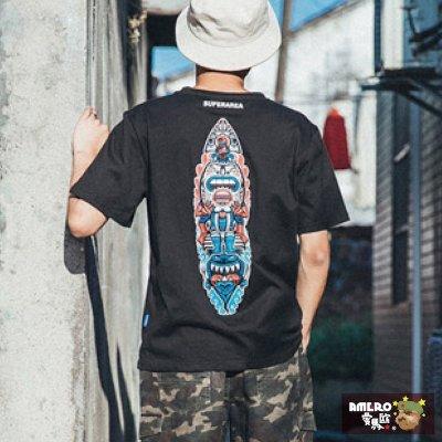 【AMERO】現貨 MIT 男裝圓領短袖T恤 美式風格 印地安圖騰 衝浪風 情侶裝 裝飾口袋:黑白灰(編號a0009)