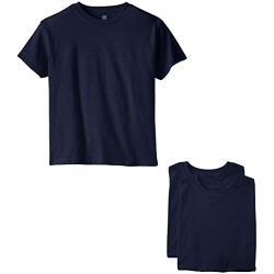 Hanes 2018男孩學生舒適柔軟棉深藍色短袖ㄒ恤3件組