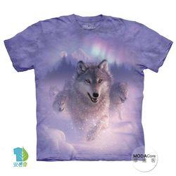 【摩達客】(預購)( 男童/女童裝)美國進口The Mountain 歐若拉之狼 純棉環保短袖T恤