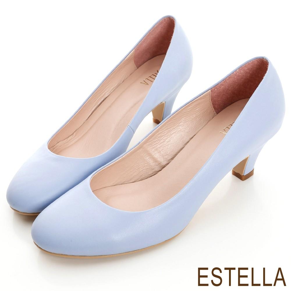 ESTELLA-MIT台灣製小羊皮靜音低跟鞋-紫