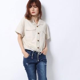 レトロガール RETRO GIRL 裾ドロスト半袖SH (オフホワイト)