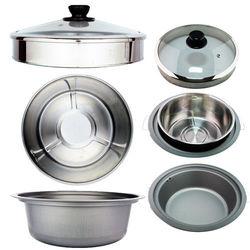 天蠶10人份電鍋懸空蒸煮配件超值組(加高玻璃鍋蓋+10人份304內鍋+6人份複合金內鍋)