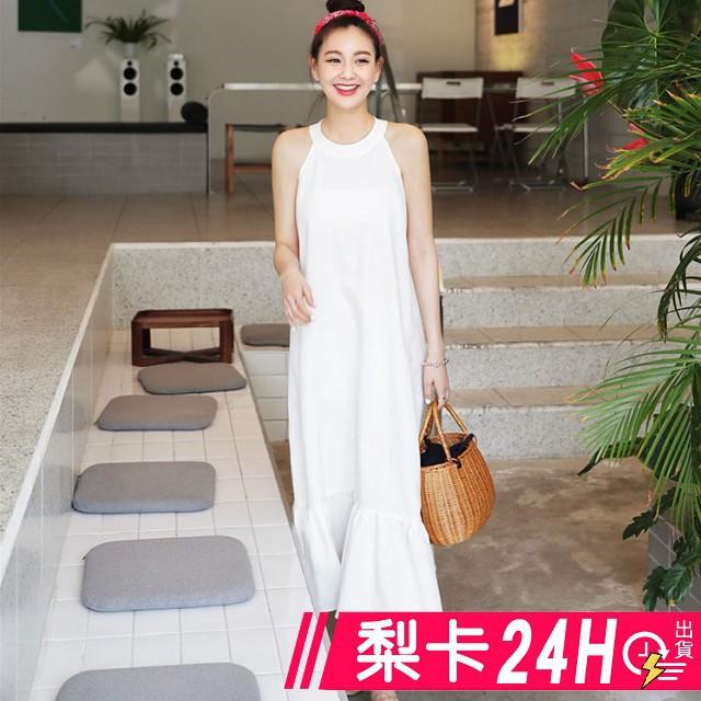 【現貨24H】梨卡 -韓版度假優雅繞頸洋裝連衣裙連身長裙長洋裝沙灘裙B796