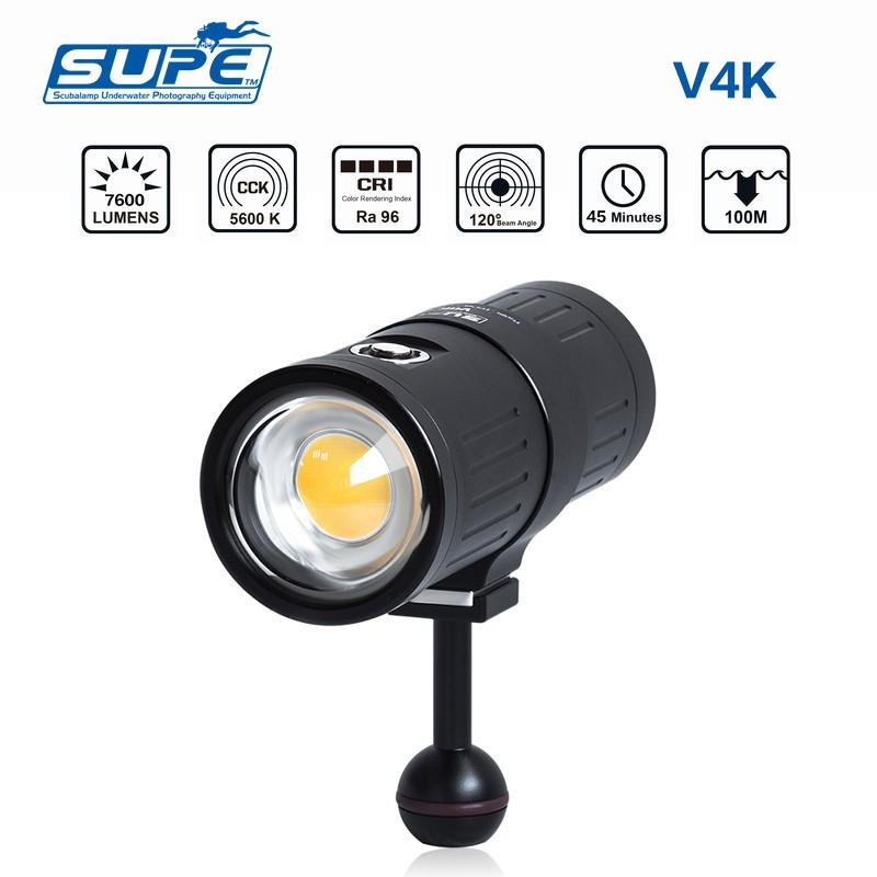 SUPE V4K 潛水攝影補光燈 7600流明強光手電筒