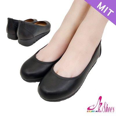 包鞋【CM日韓鞋館】【023-EJ3309】台灣製MIT.百搭素面乳膠鞋墊平底娃娃鞋.黑皮