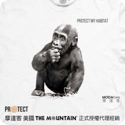 摩達客-預購-美國The Mountain保育系列大小猩猩白色短袖T恤親子裝兩件組