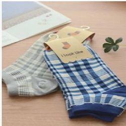 [協賀]學院風格子棉襪子女士短筒襪(4入)