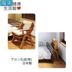【海夫健康生活館】日華 安壽 便盆椅 折疊式木製馬桶椅 日本製 軟式座墊(T0945)