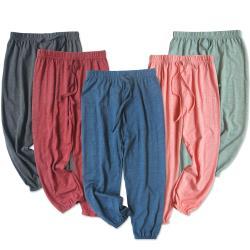 【JoyNa】兒童長褲 防蚊褲 竹節棉薄款睡褲燈籠褲 縮口褲 -2件入