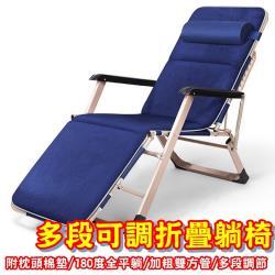 HC 【多段可調式躺椅】(附枕頭棉墊/加粗雙方管/180度全平躺/鋼管支撐)摺疊椅/躺椅/折疊床/戶外椅/休閒椅