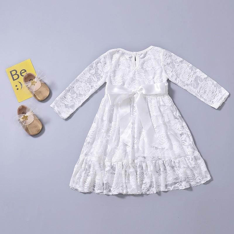 蕾絲繡花連衣裙白色【IU貝嬰屋】