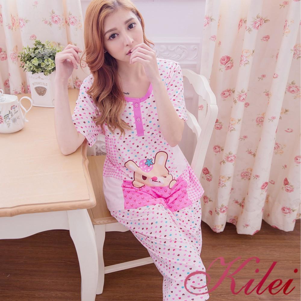 【Kilei】格紋愛心草莓兔孕婦裝居家短袖二件式睡衣組XA2912(浪漫粉紫)全尺碼