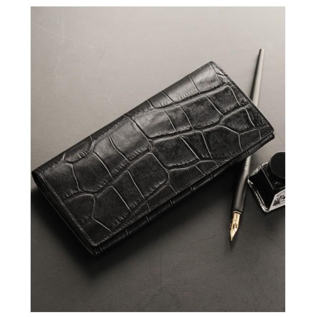 mieno [MiaBorsa]レザー長財布クロコダイル型押しメンズ ブラック