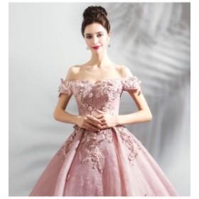 送料無料!ピンクロマンティック花嫁ウェディングドレス/結婚式礼服/パーティードレス/ワンピース/ドレス ロングタイプスカート/イブニン