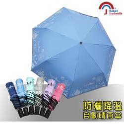 Kasan 貓頭鷹降溫黑膠自動晴雨傘萬聖款(蔚藍)