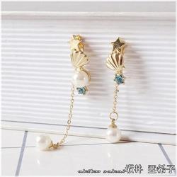 【Akiko Sakai坂井亞希子】海洋風格星星貝殼珍珠耳環(925銀針)