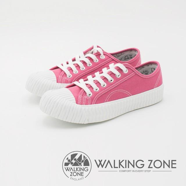WALKING ZONE 帆布系列 防潑水簡約休閒餅乾鞋 女鞋-桃粉(另有丹寧藍、淺灰)