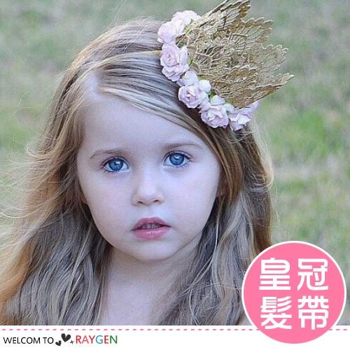 甜心公主蕾絲玫瑰花皇冠造型髮帶 髮箍【2F261Z155】