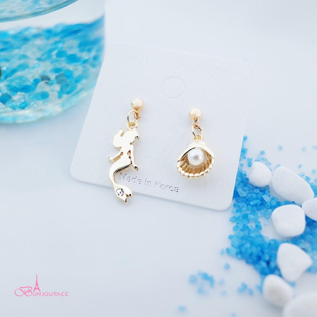 韓國不對稱美人魚 耳環 夾式 針式【Bonjouracc】