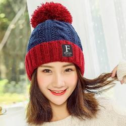 Acorn*橡果-韓系撞色大毛球內絨加厚保暖毛帽1821(藍色)