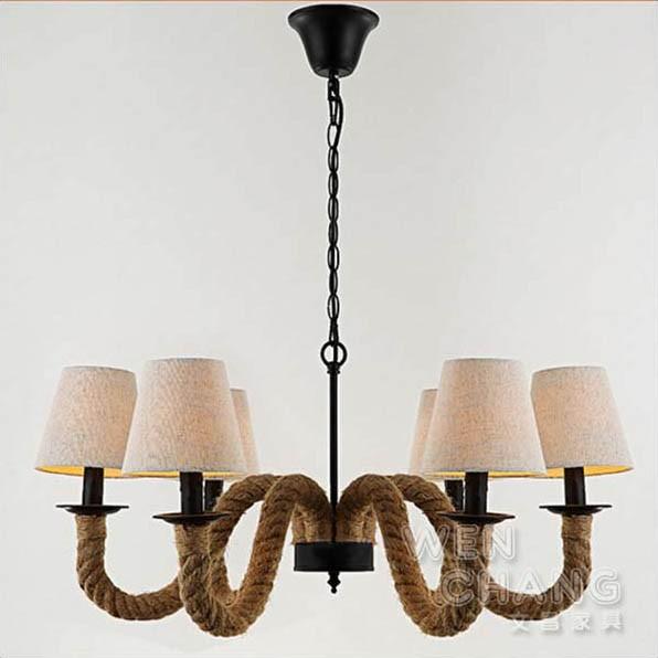 LOFT 復古工業風 維京布罩麻繩吊燈 布罩材質 6燈 主燈 LC-100 文昌家具