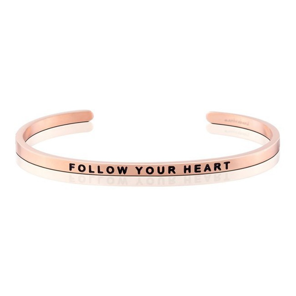 MANTRABAND 美國悄悄話手環 Follow Your Heart 隨心所欲 銀/金/玫瑰金手環