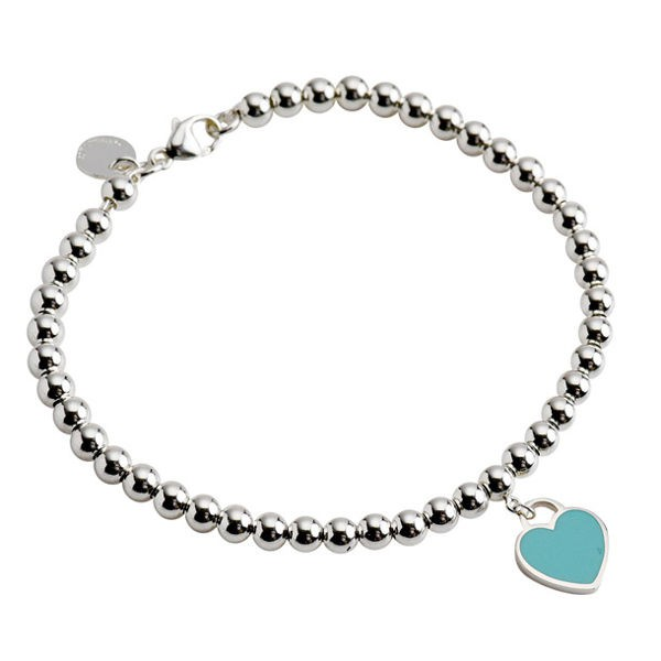 Tiffany & Co.迷你心型藍綠色琺瑯串珠手鍊