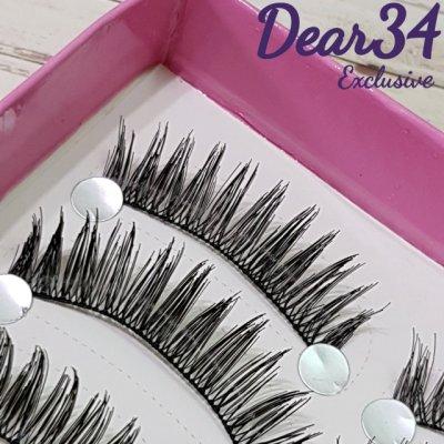 《Dear34》HS-6棉線梗尖尾眼中長 芭比娃娃電眼款纯手工编織假睫毛自然裸妝小心機  一盒十對價
