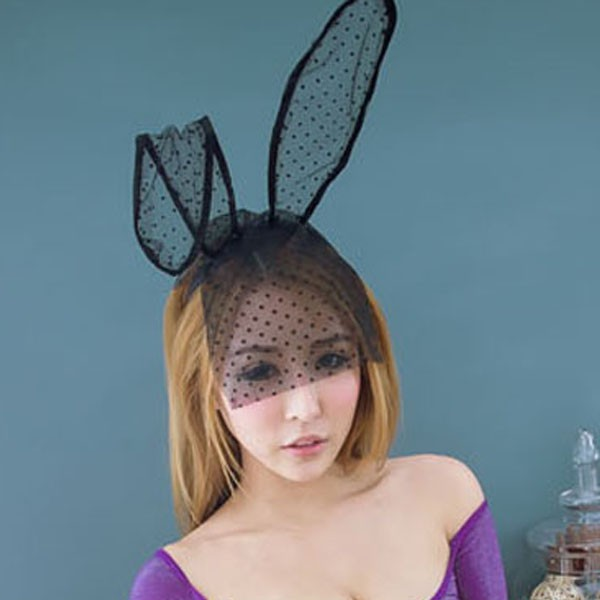 流行E線K058 台灣現貨可愛兔耳面紗髮箍