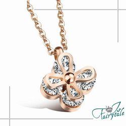 【伊飾童話】白耀之花*鋯石玫瑰金項鍊