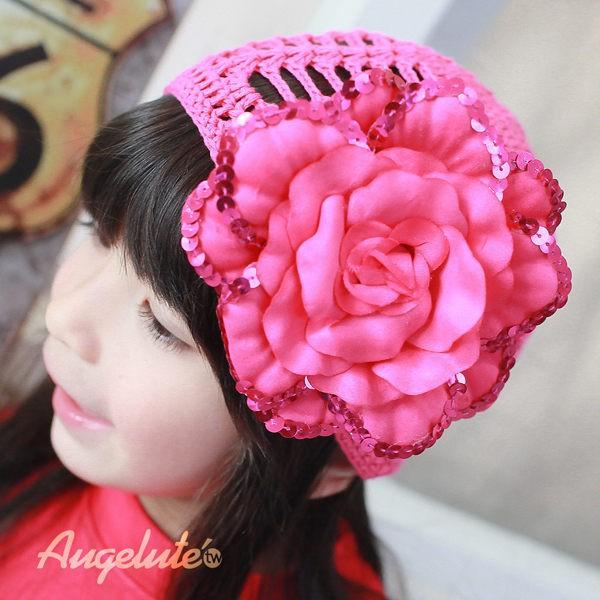 augelute 手工鉤織帽 亮片大花 鏤空毛帽 保暖毛帽 帽子 頭飾 女童 女寶寶 37335