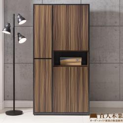 【日本直人木業】KNOW輕工業風90CM開放高鞋櫃