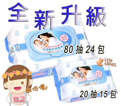 全新升級貝恩嬰兒保養柔濕巾、貝恩濕紙巾超厚型「80抽24包+隨身包20抽15包」本島1834含運