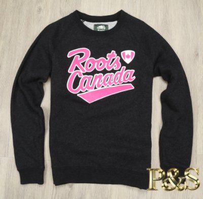 [PS] 3號5樓 全新正品 Roots  女款圓領刷毛長T Roots canada  黑灰色