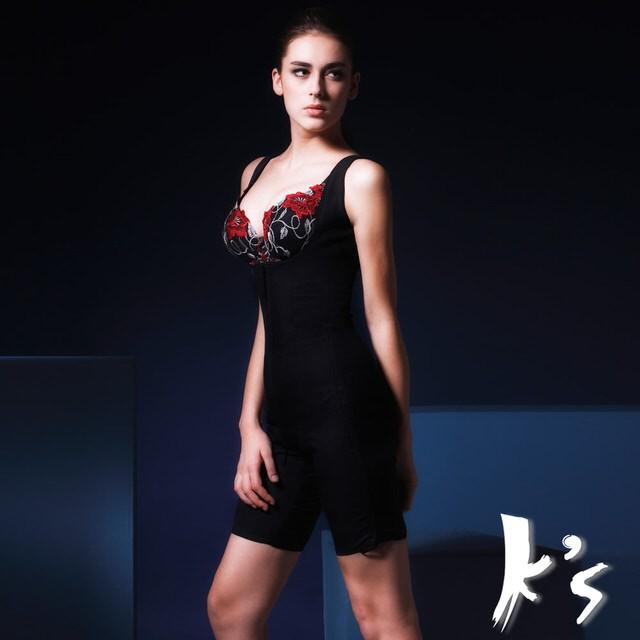 【K's凱恩絲】無罩杯連身大腿2分之1款有氧蠶絲塑身內衣(多國專利認證雙面蠶絲布料)