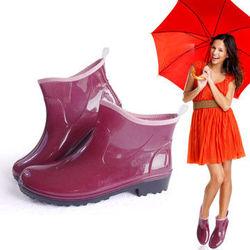 一體成型時尚短筒雨靴/雨鞋(深紫)