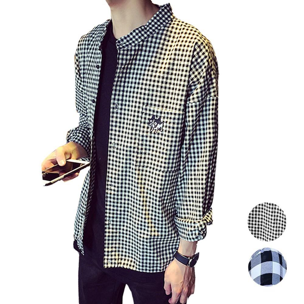 CPMAX 韓版格紋襯衫 長袖襯衫 格紋襯衫 修身襯衫 男襯衫 休閒襯衫 百搭襯衫 韓版襯衫 男長襯衫 【B07】