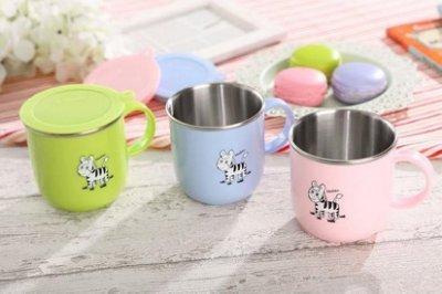 【信福璇律】Zebra 斑馬牌 304不鏽鋼兒童馬克杯(附蓋子) 水杯 學習杯   ((藍色))