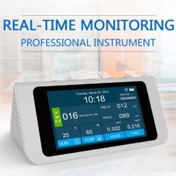 高精度 多機能 PM 2.5 PM 1.0 PM 10 ホルムアルデヒド (HCHO) 揮発性有機化合物 (TVOC) 空気質指数 (AQI) 検知器 温度計 湿度計