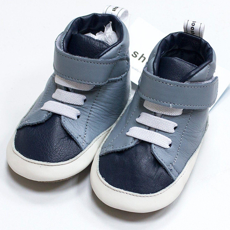 英國 shooshoos - 健康無毒真皮手工鞋/學步鞋/嬰兒鞋/室內鞋/室內保暖鞋-沉穩灰藍
